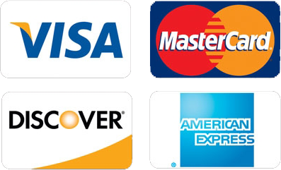 Visa, Mastercard, Discover, and American Express credit card logos.