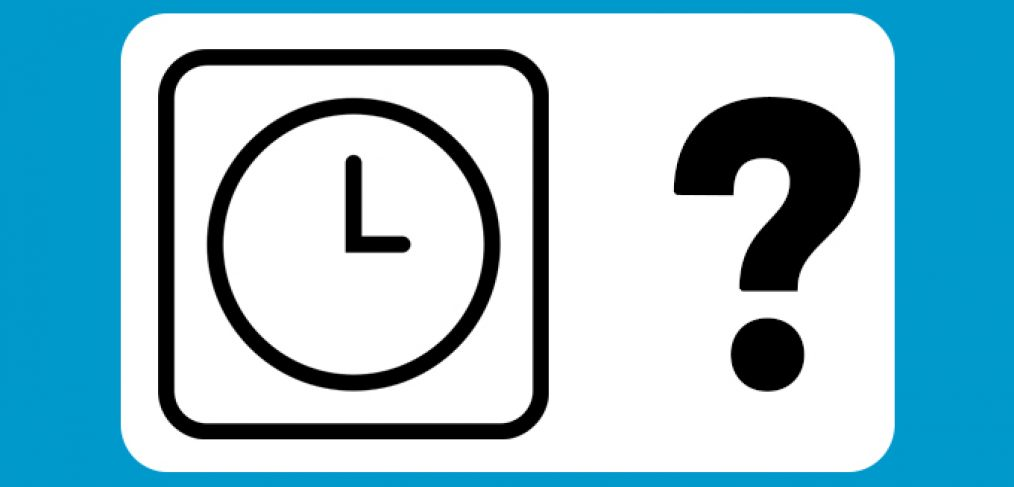Clock with a question mark, featured image for busy hours for Liberty Laundry post